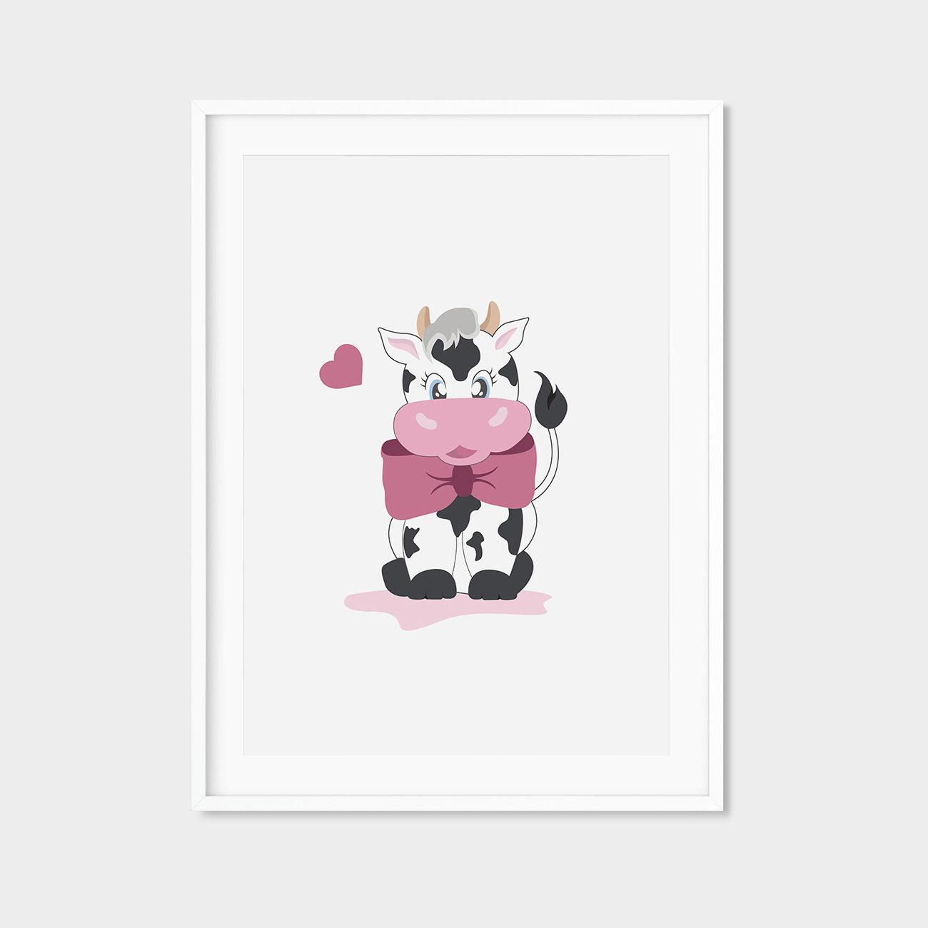 happy cows minimalistyczny plakat A4 dla dzieci